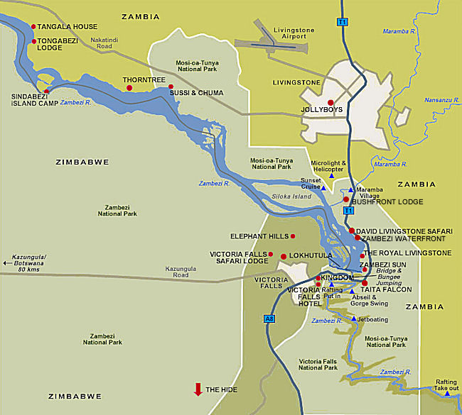 Victoria Falls And Livingstone Accommodation Map Victoria Falls